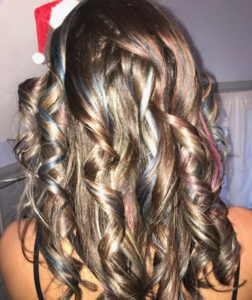 Curls, pink and blue highlights