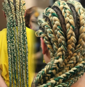 braided hair, Green and blonde braids, long braids